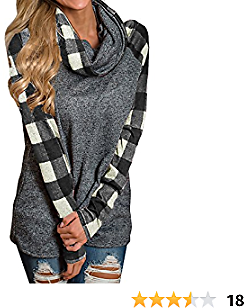 Liyuandian Womens Cowl Neck Sweatshirts Plaid Long Sleeve Raglan Shirts Pullover Tops
