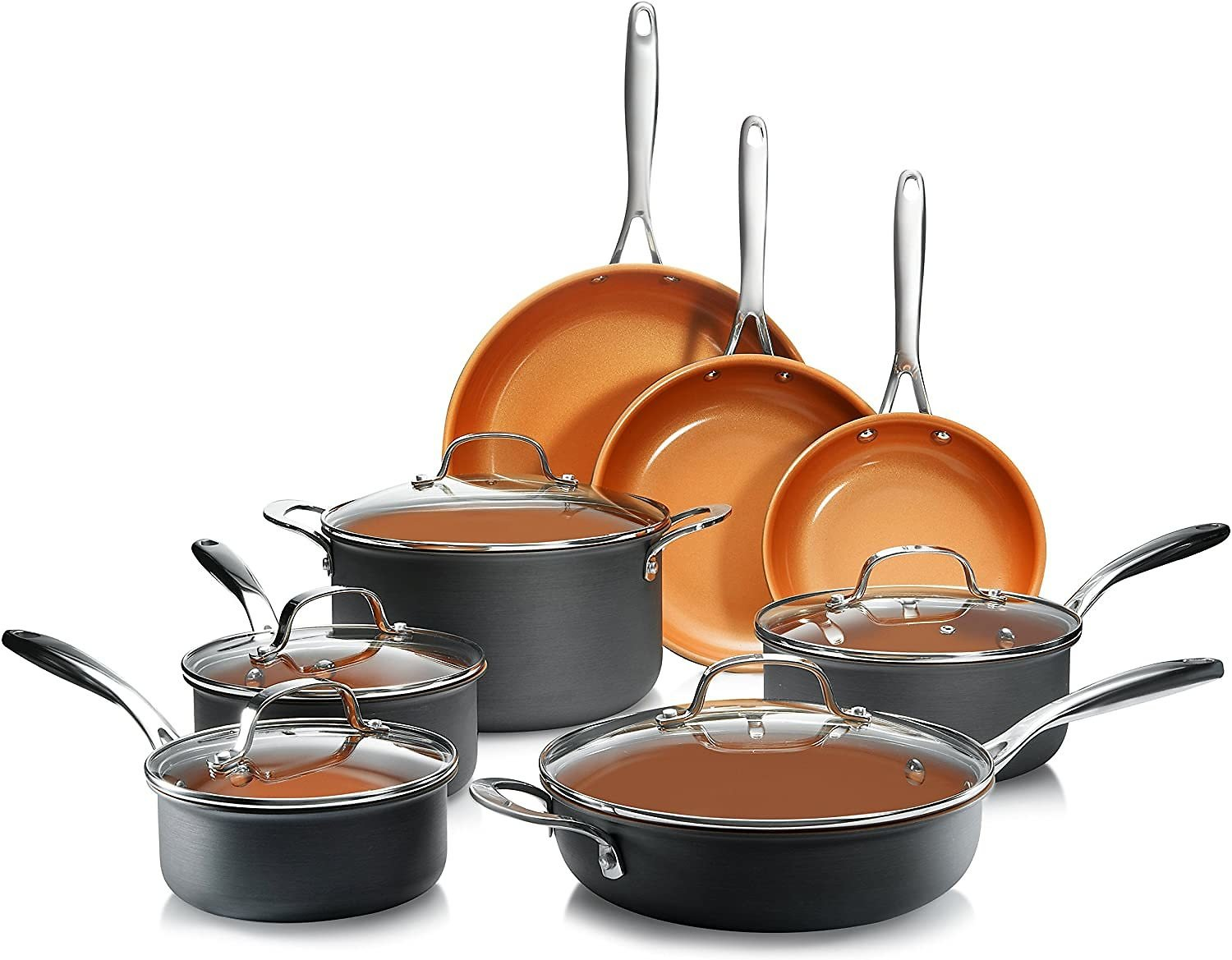 13 Piece Premium Cookware Set with Ultimate Nonstick Ceramic & Titanium Coating, Oven and Dishwasher Safe, Copper