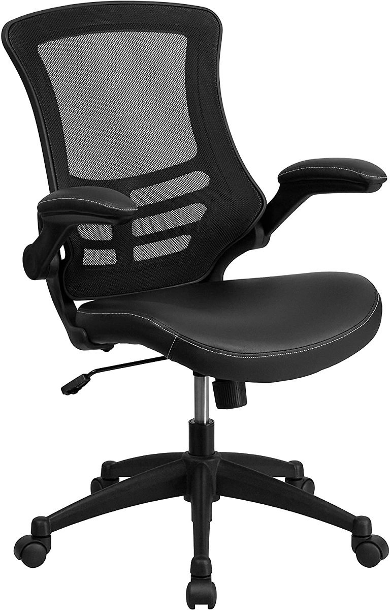 50% Off Flash Furniture Desk Chair with Wheels | Swivel Chair with Mid-Back Black Mesh and LeatherSoft Seat for Home Office and