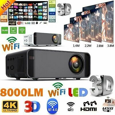 Smart LED Home Theater Projector Android 6.0 Wifi BT 1080p FHD 3D Video Movie