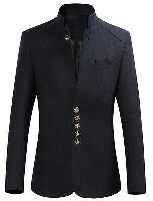 Men's Blazers Coat Slim Fit Jacket Business Single Breasted Stand Collar Casual