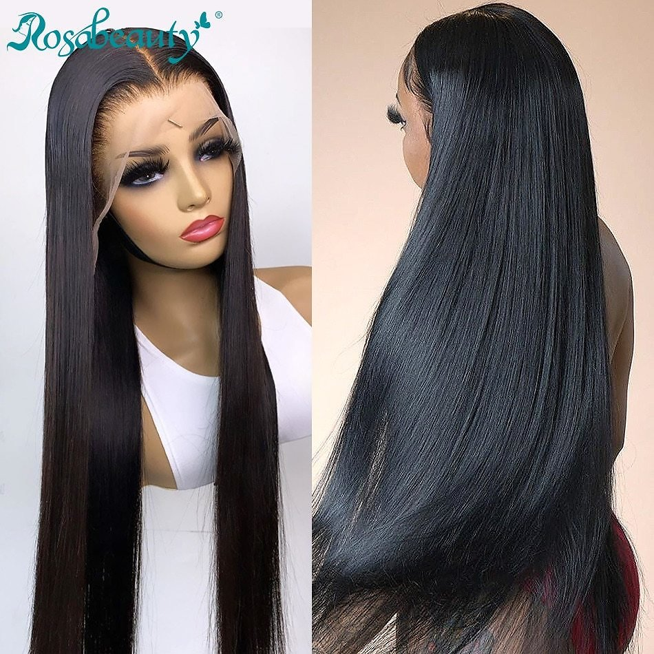 Brazilian Straight 13x4 Lace Front Human Hair Wigs Pre Plucked Bleached Knots For Black Women 28 30 Inch Wig