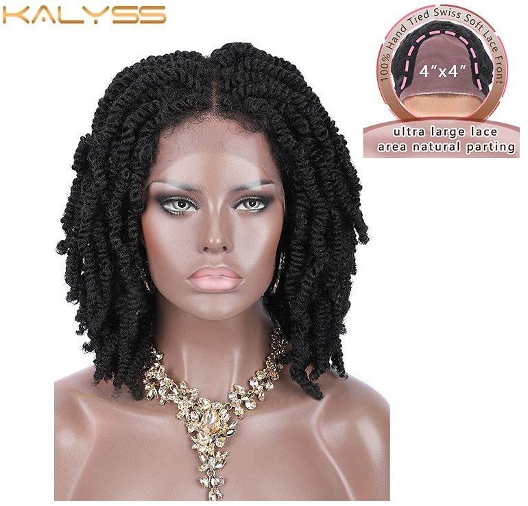 12 Inches 4x4 Braided Wigs for Black Women Spring Twist Braids Wig Synthetic Lace Frontal Wigs with Baby Hairs Woman Wigs