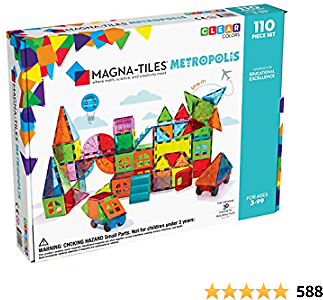 Magna Tiles Metropolis Set, The Original Magnetic Building Tiles for Creative Open-Ended Play, Educational Toys for Children Ages 3 Years + (110 Pieces)