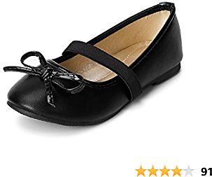 SANDALUP Girls Flats Slip-on Ballet Flats with Elastic Strap and Bow Knot