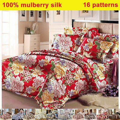 19mm 100% Silk Floral Seamless Duvet Cover Fitted/Bottom Sheets Pillow Cases Set