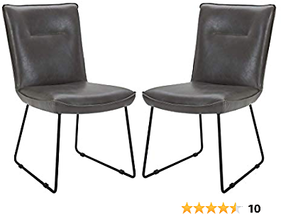 Amazon Brand – Rivet Logan Mid-Century Modern Faux Leather Dining Chair, Set of 2, 20.1