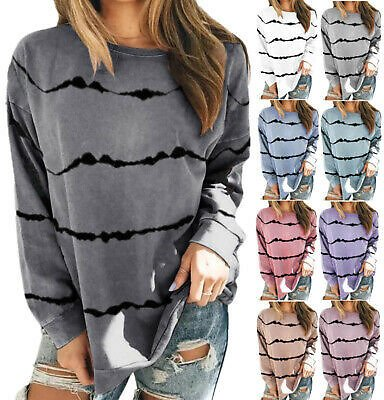 Women Stripe Printed Long-sleeved T-shirt Sweatshirt Loose Tops Blouse Pullover