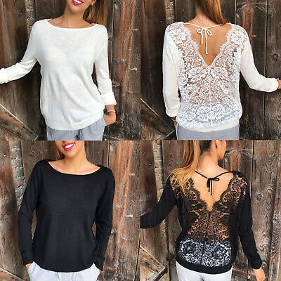 Women Backless Lace Blouse T-shirt Hollow Out Casual Sweatshirt Pullover Tops