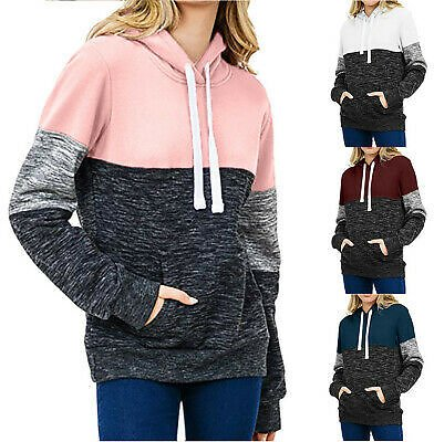 Womens Loose Casual Pullover Long Sleeve Patchwork Top Blouse Sweatshirt