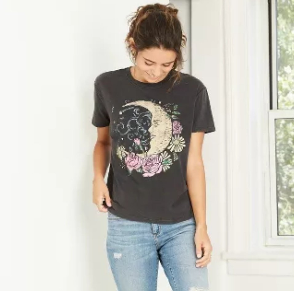 Women's Floral Print Moon Short Sleeve Graphic T-Shirt - Charcoal