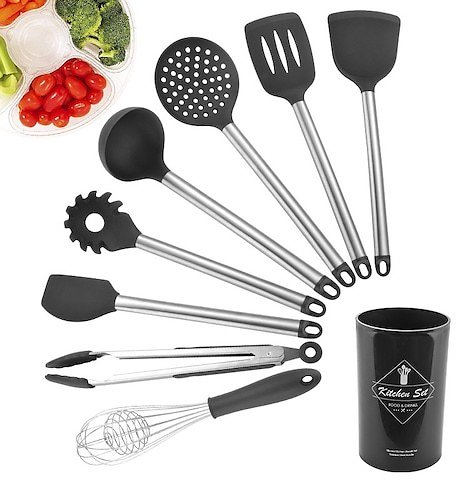 Kitchen Tools Utensils Set Silicone Non-Stick Cooking Tools 8 Pcs