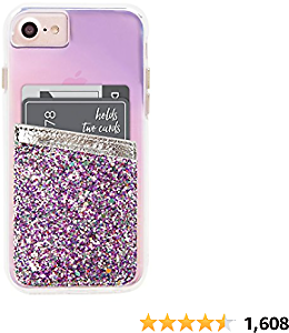 Case-Mate CM035996 - Stick On Credit Card Wallet - POCKETS - Ultra-slim Card Holder - Universal Fit - Apple – IPhone – Samsung – Galaxy - and More – Silver Glitter