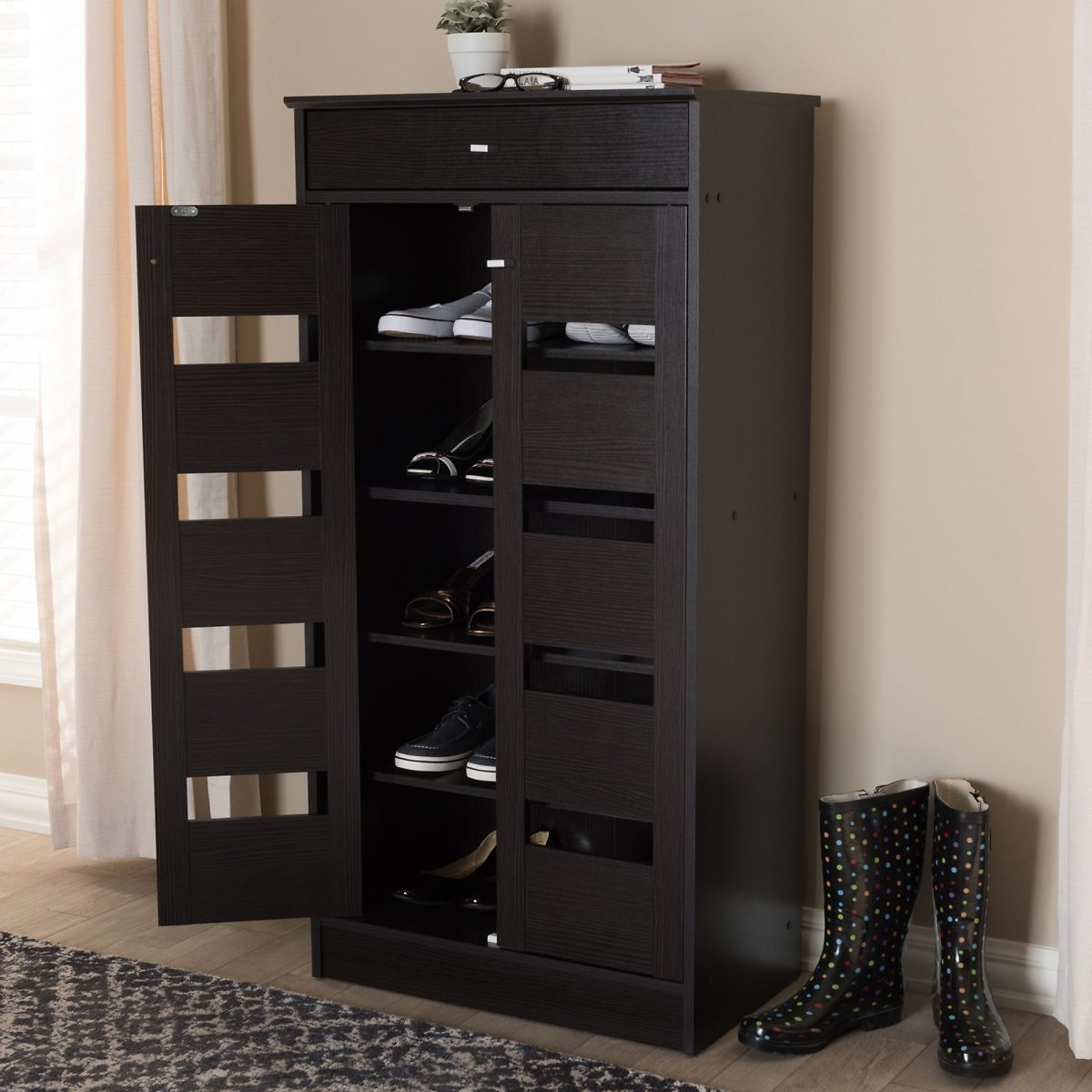Baxton Studio Acadia Modern and Contemporary Wenge Brown Finished Shoe Cabinet