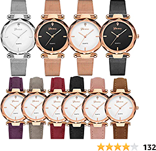 Yunanwa 10 Pack Wholesale Women's Watches Classic Business Rose Stainless Steel Rhinestone Inlaid WristWatches Geneva Relogio Feminino (6pcs Leather 4pcs Mesh Brand)
