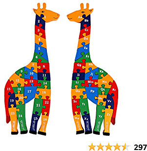TOWO Wooden Giraffe Alphabet Blocks and Number Blocks Jigsaw Puzzle 41 Cm Large Size 2 in 1 ABC Number Puzzle - Wooden Letter Blocks Puzzle Number Puzzles Educational Toys for 3 Year Olds