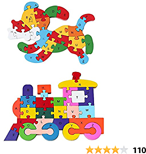 Wooden Alphabet Puzzle, 2PCS Wooden Puzzles Learning Letters Blocks Numbers Block Toys for Children's Puzzles Toys