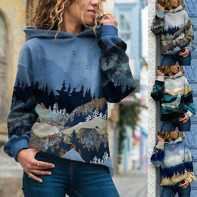 Women's Mountain Forest Print Hooded Sweatshirt Long Sleeve Pullover Casual Tops