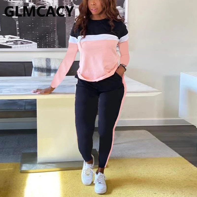 Two Piece Set Outfit Women Long Sleeve Colorblock Top & Pant Comfort Lounge Wear