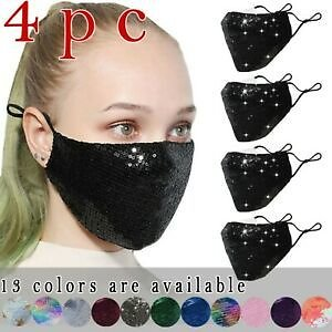 4PC PM2.5 Outdoor Mouth Mask Washable Reuse Face Mask Sequins Protection Mask