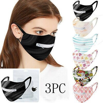 Washable Protective Mask Men & Women Reusable Zipper Mask Easy to Drink