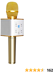TOSING Q7 Wireless Bluetooth Karaoke Microphone,10W Dual Speakers Treble Bass Stereo Portable Handheld Karaoke Mic Machine for Kids/Adults IPhone/iPad/Tablet/TV/PC/Android Smartphone(Golden)