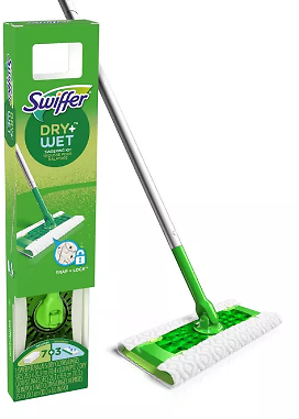 Wet All Purpose Floor Mopping and Cleaning Starter Kit with Heavy Duty Cloths - Includes 1 Mop - 10 Refills
