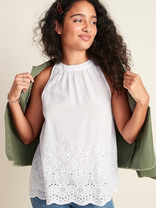 Embroidered Eyelet Sleeveless Top for Women