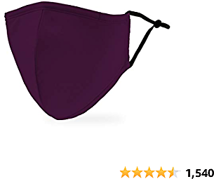 Weddingstar Washable Cloth Face Mask Reusable and Adjustable Protective Fabric Face Cover W/Dust Filter Pocket - Dark Purple