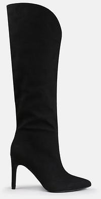50% Off On Black Faux Suede Curve Top Mid Heel Boots !!