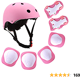 Kids Helmet,Adjustable Bike Helmet with Knee Elbow Wrist Pads CPSC Certified 7 in 1 Protective Sports Gear Set Suitable for Ages 3-8 Years Roller Skating Scooter Cycling Toddler Boys Girls