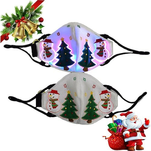 ARJ-015 7 Color Lights Voice Control LED Light-up Face Mask USB Rechargeable Glowing Luminous Dust Mask for Christmas Party Festival Dancing Rave Masquerade Costumes