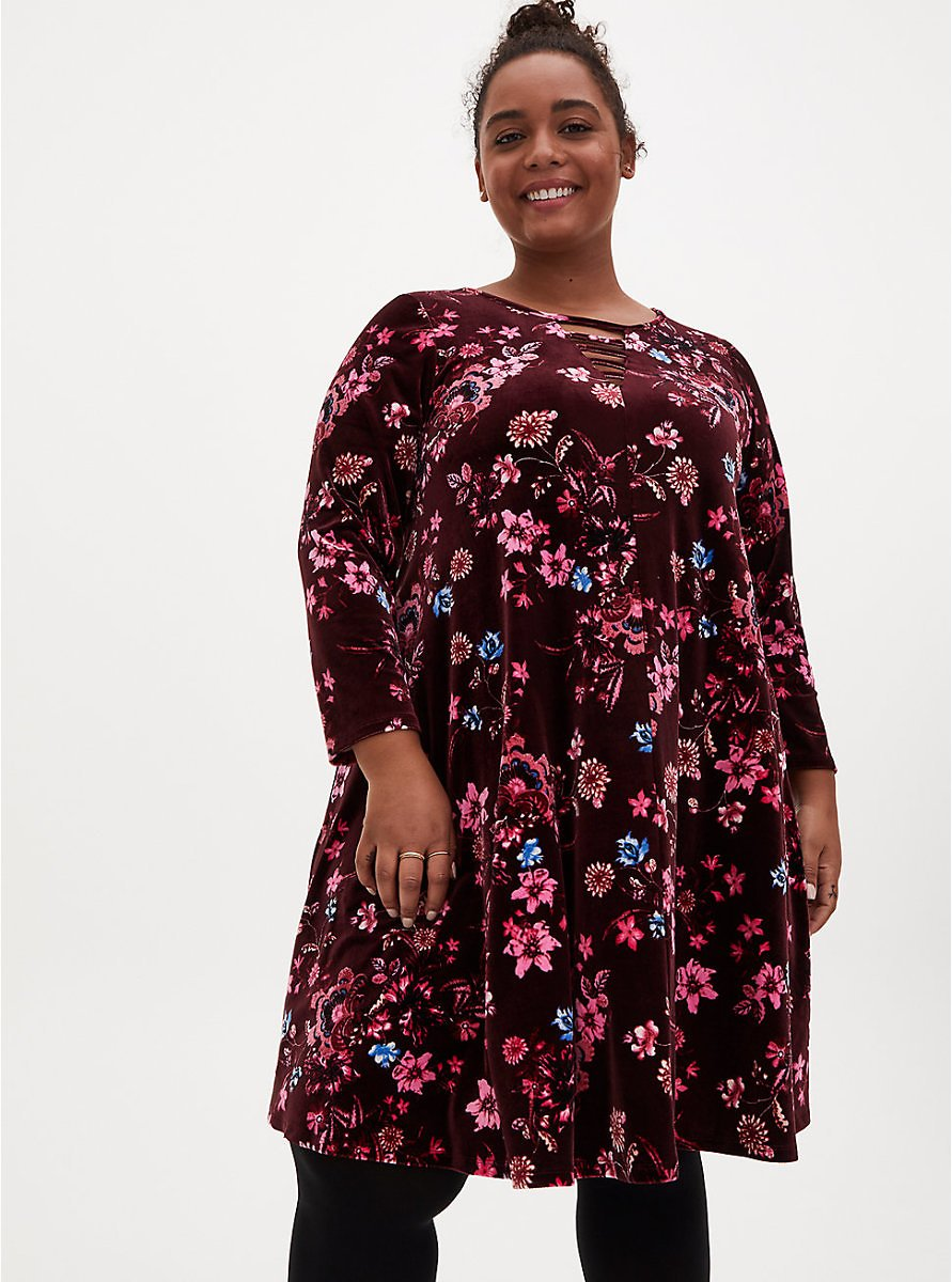 Burgundy Floral Velvet Ladder Neck Dress