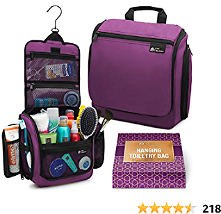 Hanging Travel Toiletry Bag for Women – Large Cosmetics, Makeup and Toiletries Organizer Kit with 19 Compartments, YKK Zippers, XXL Metal Swivel Hook, Water-Resistant Nylon, with Gift Box