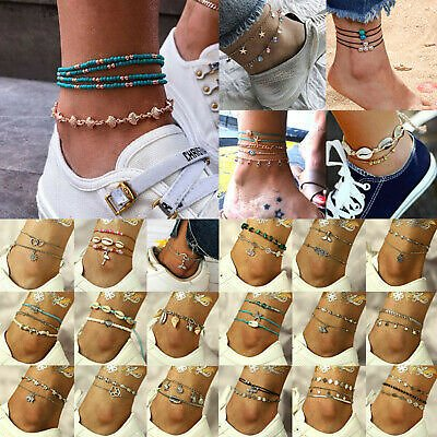 Bohemian Women Ankle Bracelet Anklet Adjustable Chain Foot Beach Fashion Jewelry