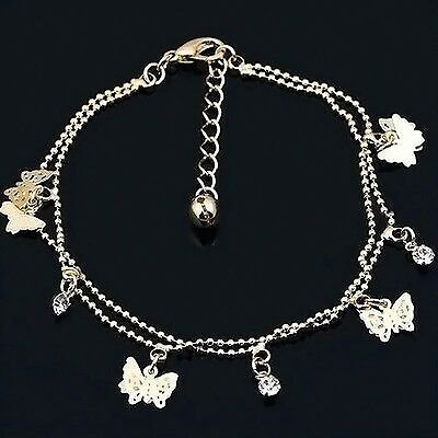 Women Gold Butterfly Charms Ankle Anklet Bracelet Sexy Beach Foot Jewelry Gift
