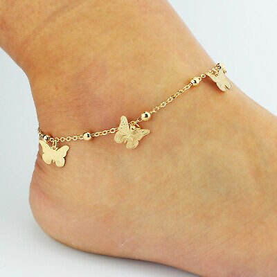 Gold Silver Hollow Butterfly Pendant Chain Anklets Bracelet Foot Ankle Jewelry