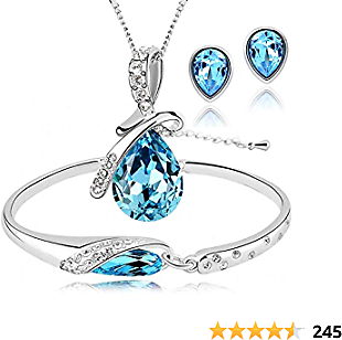 ISAACSONG.DESIGN Women's Silver Plated Rhinestone Teardrop Necklace, Earring, Bracelet Bridal Jewelry Set for Wedding