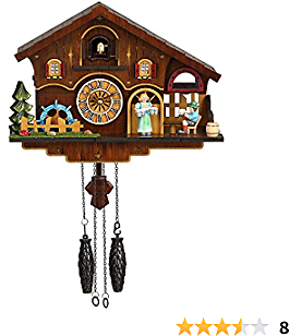 Kintrot Cuckoo Clock Black Forest Chalet House Quartz Pendulum Clock Handcrafted Wood Wall Decor