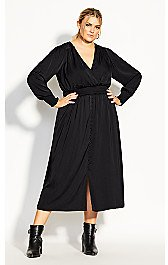 Shirred Satin Dress - Black