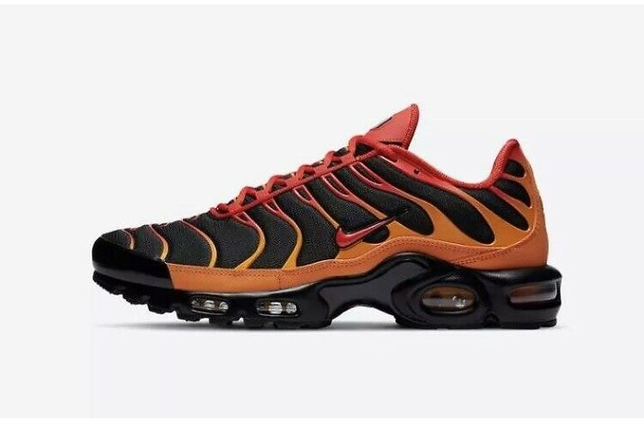 """Nike Air Max Plus Tuned """"Volcano"""" Black/Orange/Red Trainers Shoes UK 10 Eur 45"""