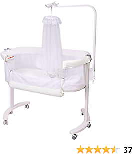 Baby Bassinet, Wooden Bedside Sleeper with Removable Mosquito Net, Easy Folding Portable Crib, Adjustable Portable Bed for Infant/Baby Boy/Baby Girl/Newborn (Beige)