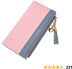 Wallets for Women Leather Cell Phone Case Holster Bag Long Slim Credit Card Holder Cute Minimalist Coin Purse Thin Large Capacity Zip Clutch Handbag Wallet for Girls Ladies (Y-Pink)