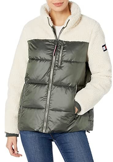 Sherpa Mixed Media Puffer Jacket