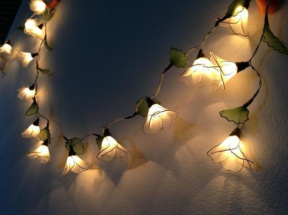 20 Bulbs White Himalayas Flower with Leaf String Lights for Patio,Wedding,Party and Decoration Fairy Lights