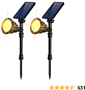 JSOT Solar Lights Outdoor, 18 LED Solar Powered Spotlights [Warm White ]Landscape Lights 2-in-1 IP65 Waterproof In-Ground Light Solar Wall Lamp for Yard Garage Deck Garden Walkway Tree Flag,Pack of 2
