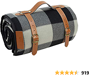 PortableAnd Extra Large Picnic & Outdoor Blanket 3 Layers Water-Resistant Handy Mat Tote Spring Summer Black and Gray Checkered, Great for Beach and Camping On Grass, Waterproof Sandproof
