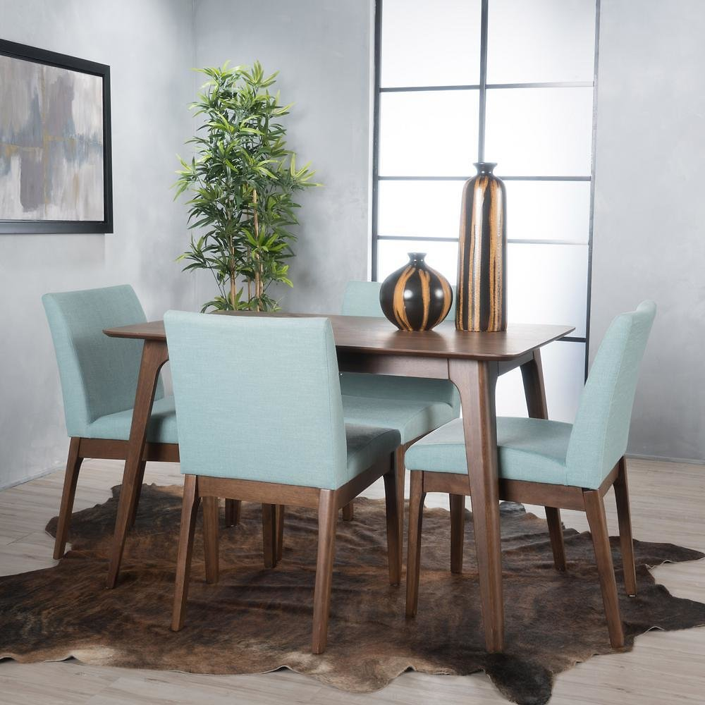 Noble House Kwame 5-Piece Mint Fabric and Natural Walnut 50 In. Rectangular Dining Set-11427