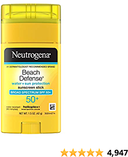 Neutrogena Beach Defense Water-Resistant Body Sunscreen Stick with Broad Spectrum SPF 50+, PABA-Free, and Oxybenzone-Free, Superior Protection Against UVA/UVB Rays, 1.5 Oz