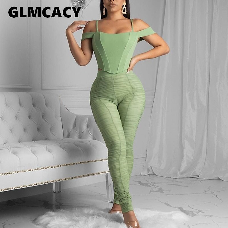 Women Two Piece Matching Sets Cold Shoulder Top & High Waist Bodycon Pleated Pants Oversize Suits